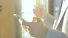 Business worker standing in the bus Stock Footage