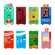 Food And Drink Vending Machines Design Set Stock Illustration
