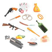 Crime And Money Related Set Of Objects Stock Illustration