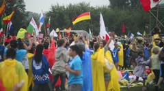 Thousands of people gathered on the field to listen Pope Francesco - Krakow 2016 Stock Footage