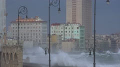 The waterfront promenade of the Malecon in Havana Cuba takes a beating during a Stock Footage