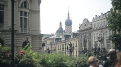 Krakow - the architecture of the old European city Stock Footage