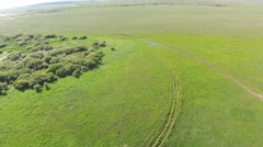 Aerial view of in the steppe Kazakhstan with mud road. Aerophotography Stock Footage