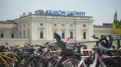 Bike Parking on street Krakow Poland Stock Footage