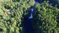 Beautiful waterfall in the forest. Aerial view. Stock Footage