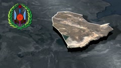 Dikhil Region with Coat Of Arms Animation Map Stock Footage