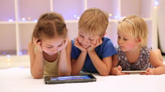 Happy children watching tablet. Full HD Video Stock Footage