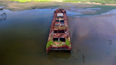 Slow Track outwards on boat at Staten Island Boat Graveyard 2016 Stock Footage