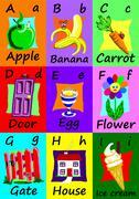Alphabet flash cards A-I. Naive illustrations. Stock Illustration