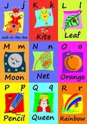 Alphabet flash cards J-R. Naive illustrations. Stock Illustration