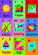 Alphabet flash cards S-Z. Naive illustrations. Stock Illustration
