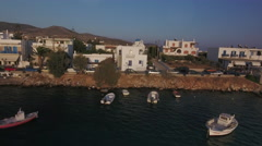Boulevard and port of Aliki fishing village, Greece Stock Footage
