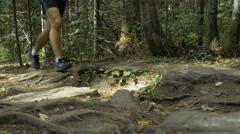 Feet men running along a mountain trail in forest Stock Footage