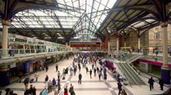 LIVERPOOL STREET STATION LONDON ENGLAND Stock Footage
