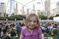 Little girl at Jay Pritzker Pavilion, Millennium Park, Chicago, Illinois, USA Stock Photos
