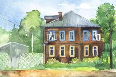Watercolored illustration of a wooden house Stock Illustration