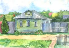 Watercolored illustration of an old wooden house Stock Illustration