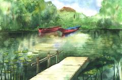 Watercolor river landscape Stock Illustration