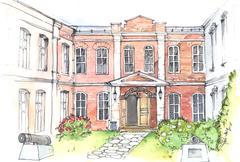 Watercolor illustration of an old mansion Stock Illustration