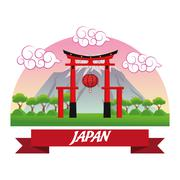 Arch japan culture design Stock Illustration