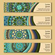 Colorful ornamental ethnic banner set. Templates with wavy elements and triba Stock Illustration