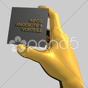 Hand mit Infozettel Stock Photos