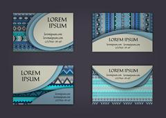 Business card or visiting card template with boho style pattern background. A Stock Illustration