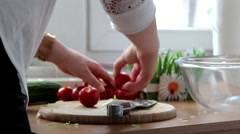 Healthy eating, vegetarian food, cooking, dieting and people concept - close up Stock Footage