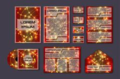 Corporate template set with glowing abstract layout. Vector company style for Stock Illustration