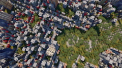 Abstract city block with park aerial view 4K animation Stock Footage