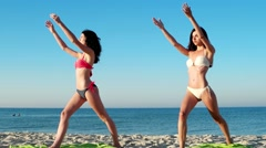 Fitness classes on the sea for a healthy way Stock Footage