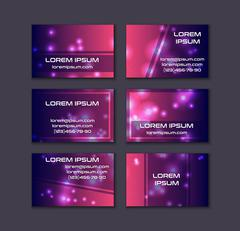 Business card collection. Abstract shining glow decorative elements with tran Piirros