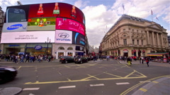 NEON SIGNS TRAFFIC PICCADILLY CIRCUS LONDON Stock Footage