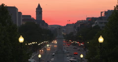 4K Sunset over Pennsylvania Avenue in DC Stock Footage