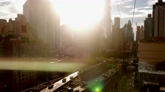 Sun goes down behind city. sunset skyline view Stock Footage