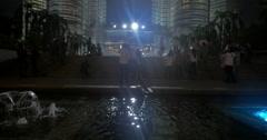Night view of Petronas Twin Towers in Kuala Lumpur, Malaysia Stock Footage
