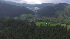 Forest and mountains in the Ukrainian Carpathians. Aerial view Stock Footage