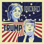 Trump and clinton presidential election Stock Illustration