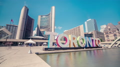 Toronto Sign Low Angle City Hall Tourism Wide Blue Sky Clouds Timelapse 5k Stock Footage