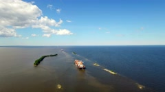 Aerial view of ships sailing along the Islands in place of the connection fresh Stock Footage