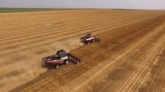 Two red-white modern harvesters working on a field in harvest time,aerial shot Stock Footage