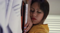Student Sleeping On Books Wakes Up Late For School Stock Footage