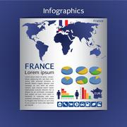 Infographic map of France show population and consumption statistic information Stock Illustration