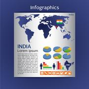Infographic map of India show population and consumption statistic information Stock Illustration