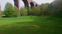 Landscape with railway bridge Stock Footage