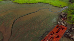 Staten Island Boat Graveyard 2016 - Large Red Boat Stock Footage