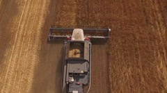 Drone flying up over two modern harvester working on a field with grain golden Stock Footage