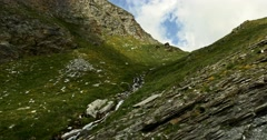 Waterfall At Col Agnel, France Stock Footage