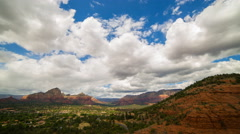 Time Lapse of Cloudscape over Airport Mesa Vortex in Sedona, Arizona -Zoom In- Stock Footage