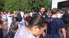 Openair wet water battle (Editorial). Stock Footage